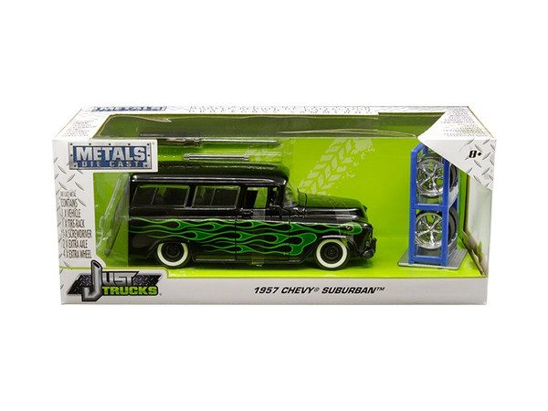 "1957 Chevrolet Suburban Black with Green Flames and Extra Wheels ""Just Trucks"" Series 1/24 Diecast Model Car by Jada 97821"