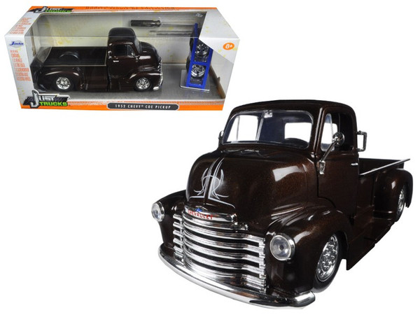 """1952 Chevrolet COE Pickup Truck Brown """"Just Trucks"""" with Extra Wheels 1/24 Diecast Model Car by Jada 98021"""