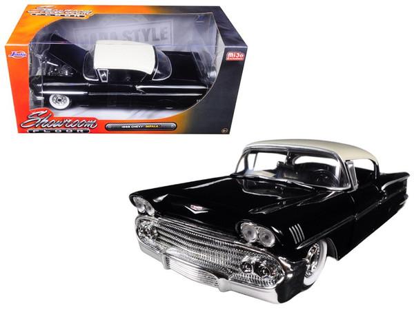 "1958 Chevrolet Impala Black ""Showroom Floor"" 1/24 Diecast Model Car by Jada 98895"