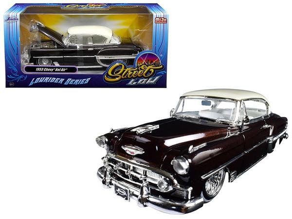 """1953 Chevrolet Bel Air Brown """"Lowrider Series"""" Street Low 1/24 Diecast Model Car by Jada 98916"""