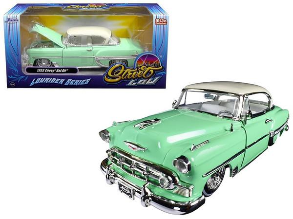 "1953 Chevrolet Bel Air Light Green ""Lowrider Series"" Street Low 1/24 Diecast Model Car by Jada 98917"