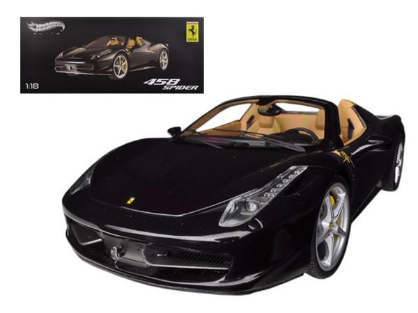 Ferrari 458 Spider F1 Glossy Black Elite Edition 1/18 Diecast Car Model by Hotwheels BCJ90