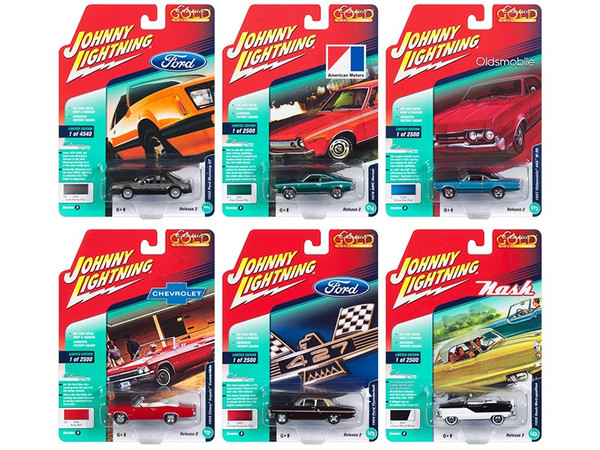 Classic Gold 2018 Release 2 Set B of 6 Cars 1/64 Diecast Models by Johnny Lightning JLCG014B