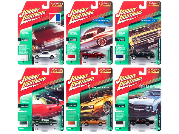 Classic Gold 2018 Release 3 Set B of 6 Cars 1/64 Diecast Models by Johnny Lightning JLCG015B