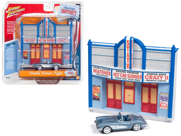 """1958 Chevrolet Corvette Convertible Blue and Resin Movie Theater Facade """"Double Feature Night"""" 1/64 Diecast Model by Johnny Lightning JLDR003-CORV"""
