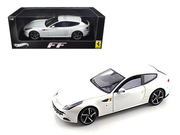 Ferrari FF V12 4 Seater Pearl White Elite Edition 1/18 Diecast Car Model by Hotwheels W1119