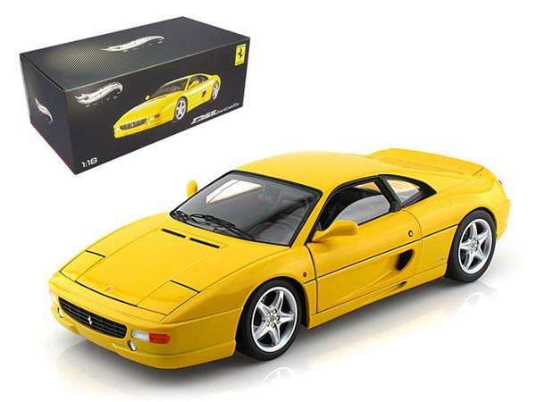 Ferrari F355 Berlinetta Yellow Elite Edition 1/18 Diecast Car Model by Hotwheels X5479