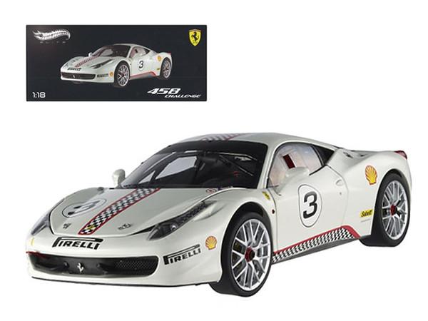 Ferrari 458 Italia Challenge White #3 Elite Edition 1/18 Diecast Car Model by Hotwheels X5487