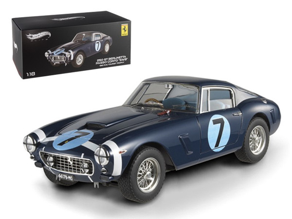 "1961 Ferrari 250 GT Berlinetta Passo Corto ""'SWB""' Goodwood Tourist Trophy #7 Blue Elite Edition 1/18 Diecast Model Car by Hotwheels X5489"