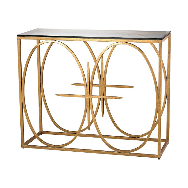 Amal Metal Console Table With Glass Top - Antique Gold Leaf 1114-220