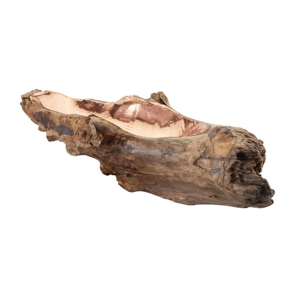 Dimond Home Long Teak Root Bowl With Copper Insert 162-012