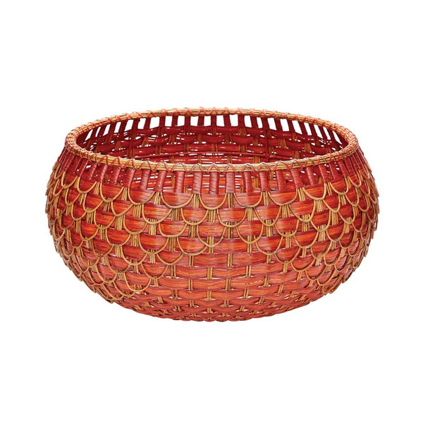 Dimond Home Large Fish Scale Basket In Red And Orange 466053