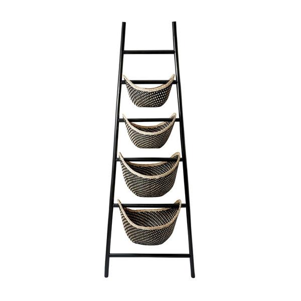 Dimond Home Black Plaid Ladder Basket 797001