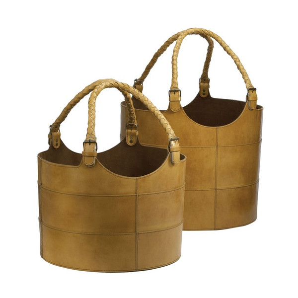 Dimond Home Nested Caramel Leather Buckets-Set Of 2 819005