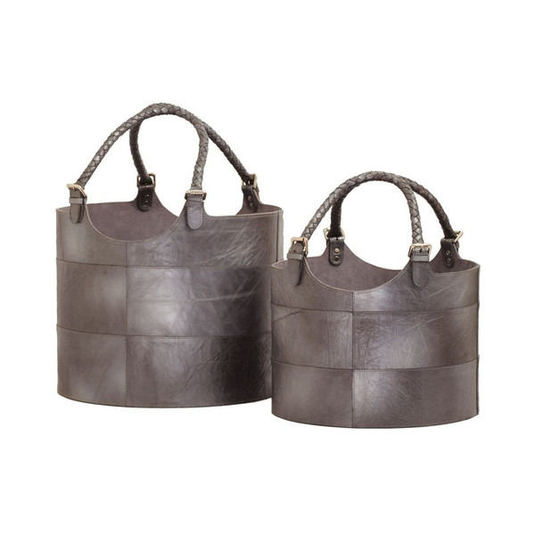 Dimond Home Nested Gunmetal Leather Buckets-Set Of 2 819008