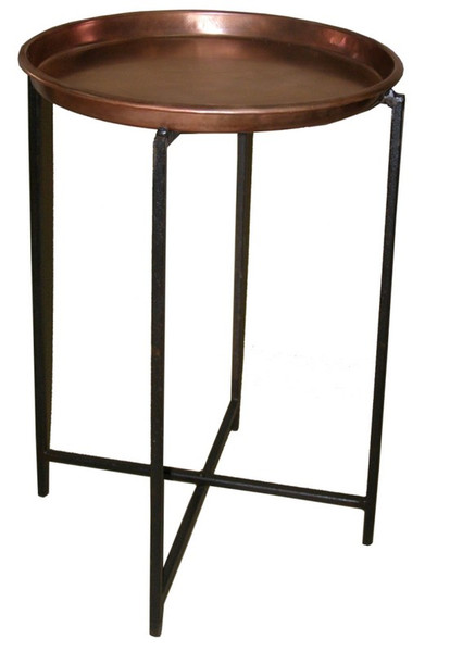 00583 DK Living Iron Round Table And Stand Copper Finish