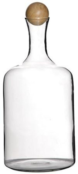 090147 DK Living Natural Glass Type 2 Bottle With Wood Ball Cap