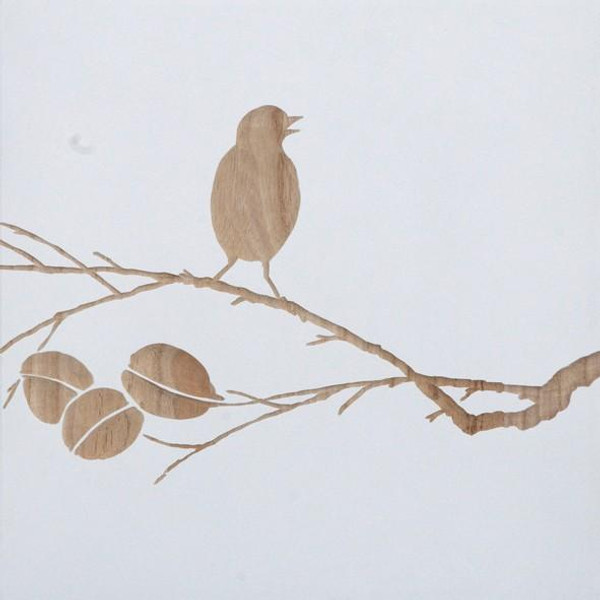 090201 DK Living White Wood Carved Bird On Branch Wall Panel B