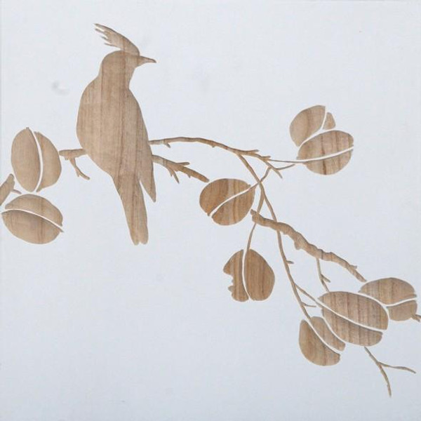 090203 DK Living White Wood Carved Bird On Branch Wall Panel D