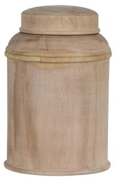 090347 DK Living C-Small Wood Canister With Lid Natural