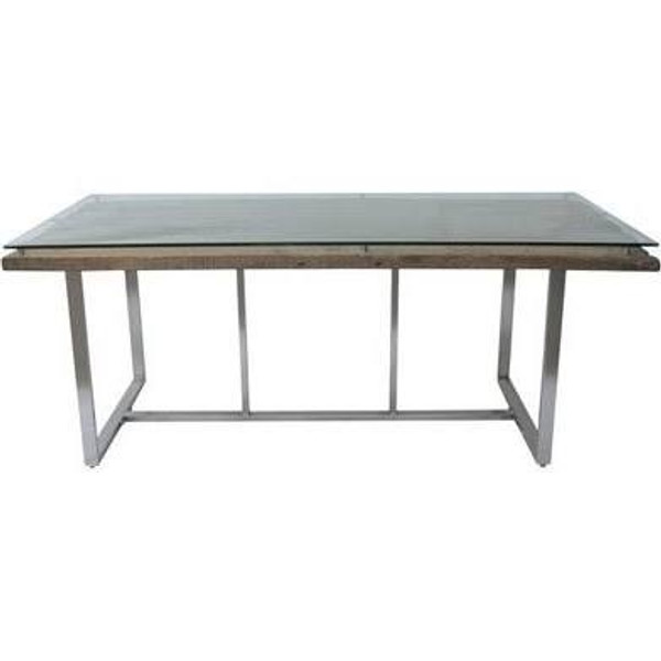 123010 DK Living Brown Rail Wood- Glass And Metal Dining Table