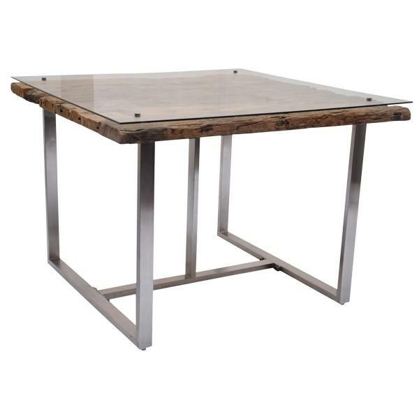 123011 DK Living Brown Rail Wood- Glass And Metalsquare Table