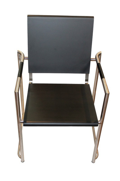 123025 DK Living Steel And Wood Chair With Arms Black