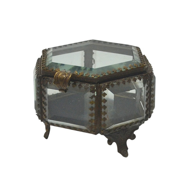 12716 DK Living Antique Iron And Glass Hex Jewelry Box