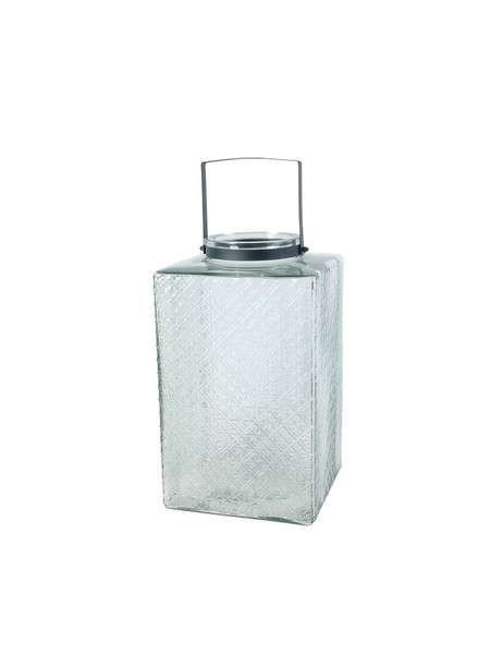 571003 DK Living Glass And Iron Square Jar And Lantern Sea
