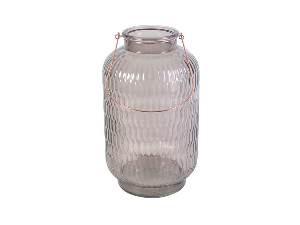 571006 DK Living Large Glass And Iron Round Jar And Lantern