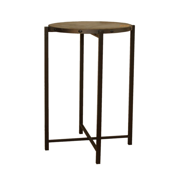 60507 DK Living Wood And Iron Reave End Table
