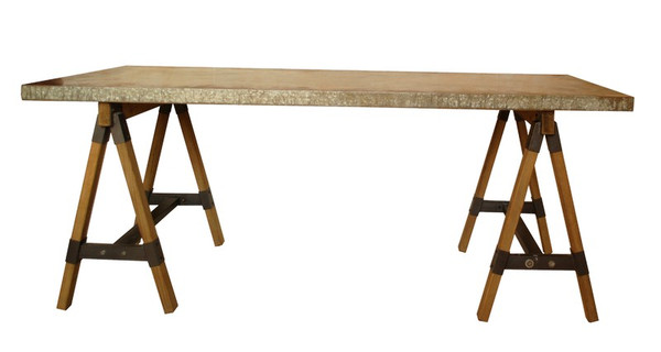 60510 DK Living Wood And Zinc Antiqued Table