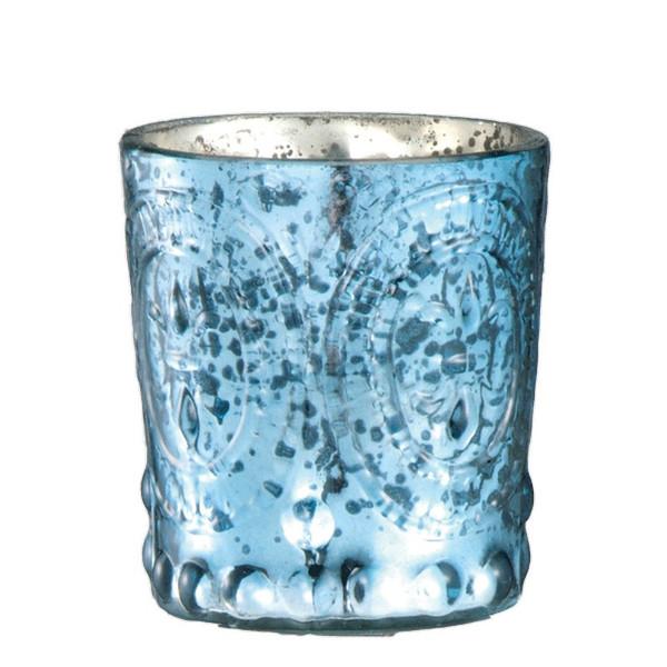 61379 DK Living Glass Votive Small F-D-L Antique Cobalt