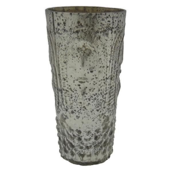 61387 DK Living Glass Votive Xl F-D-L Antique Silver
