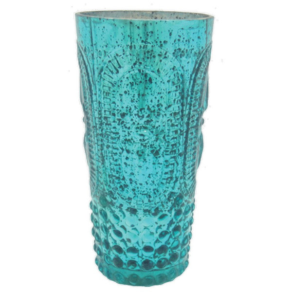 61389 DK Living Glass Votive Xl F-D-L Antique Aqua