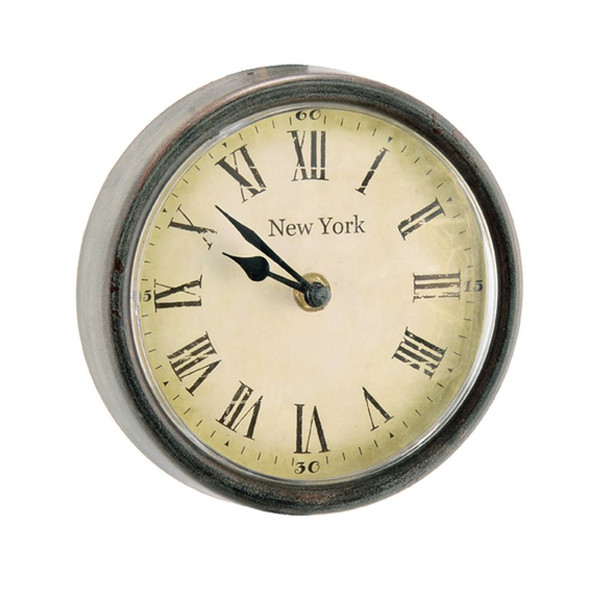 80017 DK Living Small Wood And Glass New York Round Clock Gray