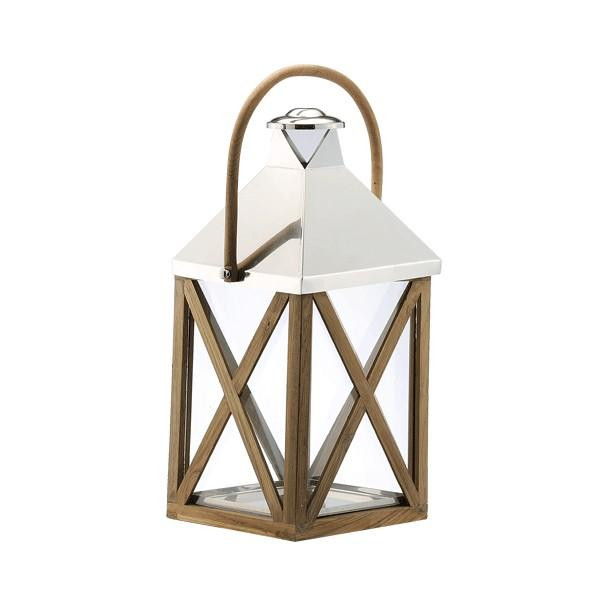 890076 DK Living Brown Metal And Glass X Lantern With Wood Handle