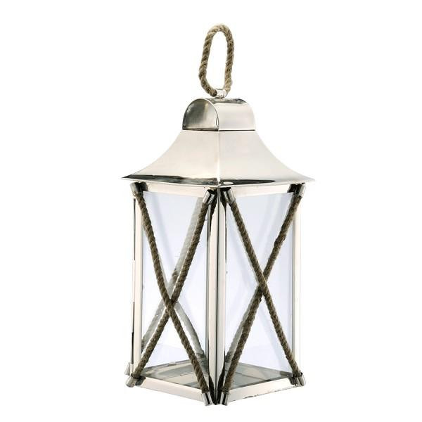 890079 DK Living Silver Metal And Glass Rope X Lantern