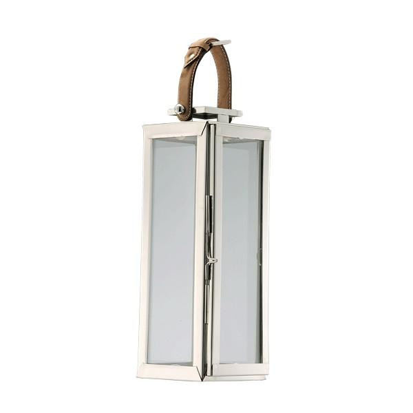 890080 DK Living Silver Metal And Glass Tall Buckle Lantern