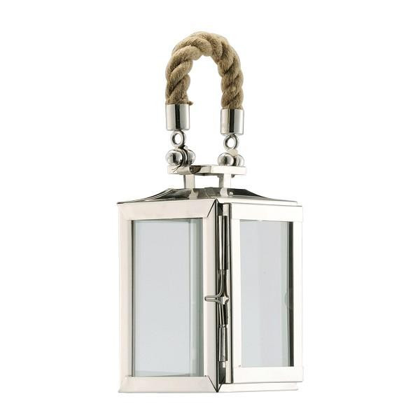 890084 DK Living Silver Small Metal And Glass Lantern With Rope Handle