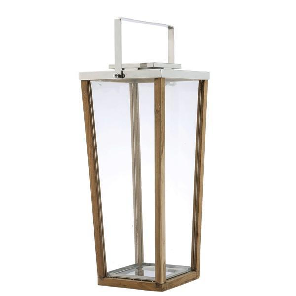 890085 DK Living Brown Wood And Glass Modern Lantern