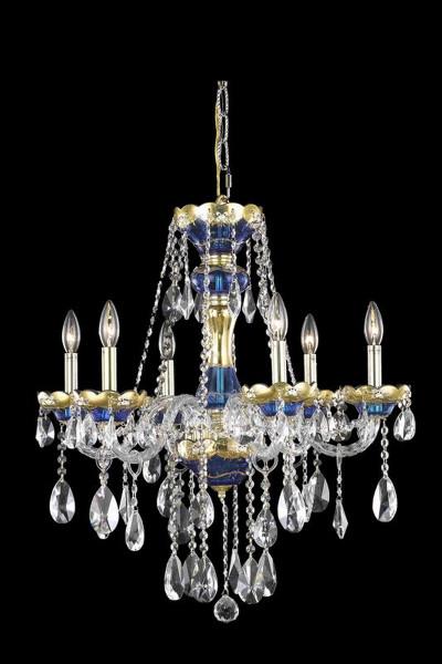 Elegant Alexandria 6 Light Blue Chandelier Clear Royal Cut Crystal 7810D24BE/RC