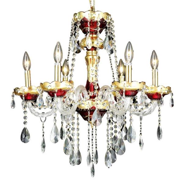 Elegant Alexandria 6 Light Gold Chandelier Clear Royal Cut Crystal 7810D24G/RC