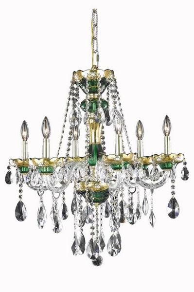 Elegant Alexandria 6 Light Green Chandelier Clear Elegant Cut Crystal 7810D24GN/EC