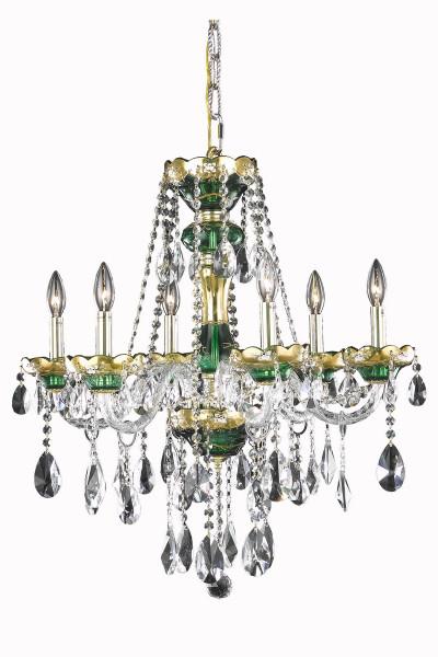 Elegant Alexandria 6 Light Green Chandelier Clear Royal Cut Crystal 7810D24GN/RC