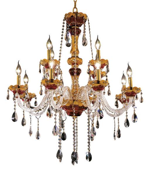 Elegant Alexandria 12 Light Gold Chandelier Clear Elegant Cut Crystal 7810G33G/EC
