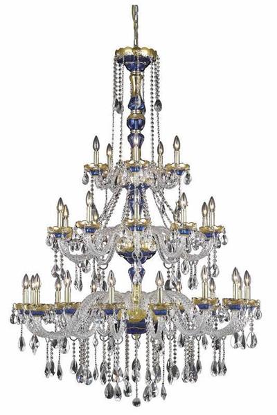 Elegant Alexandria 30 Light Blue Chandelier Clear Royal Cut Crystal 7810G45BE/RC