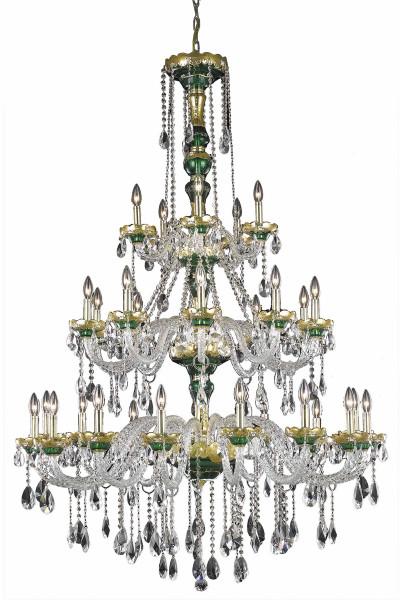 Elegant Alexandria 30 Light Gold Chandelier Clear Royal Cut Crystal 7810G45G/RC
