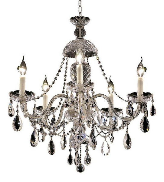 Elegant Alexandria 5 Light Chrome Chandelier Clear Spectra® Swarovski® Crystal 7829D25C/SA