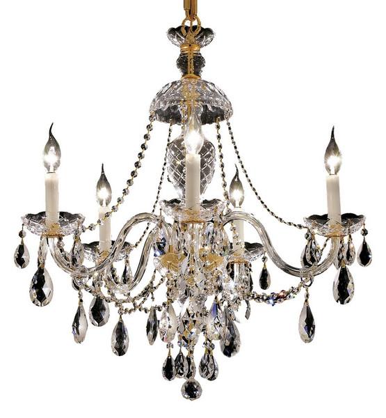 Elegant Alexandria 5 Light Gold Chandelier Clear Royal Cut Crystal 7829D25G/RC